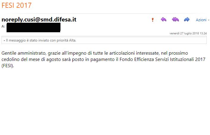 Mail FESI inviata dal CUSI a tutti gli amministrati