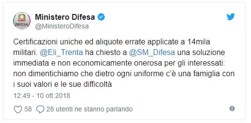 Twit ministero difesa cud errati