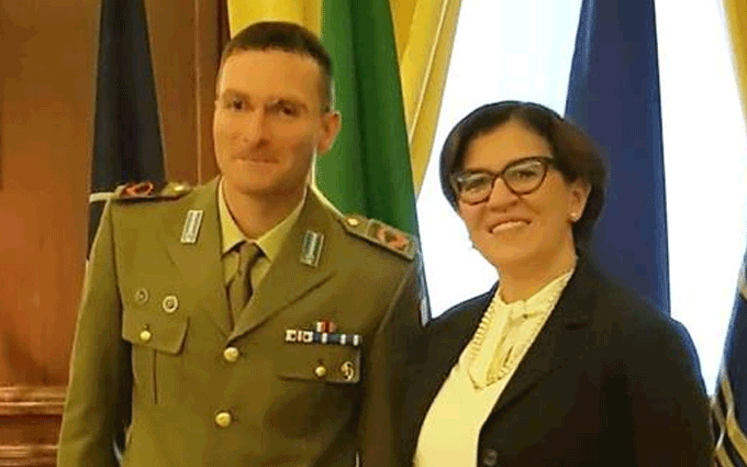Francesco Raiola ricevuto dal Ministro della Difesa Elisabetta Trenta