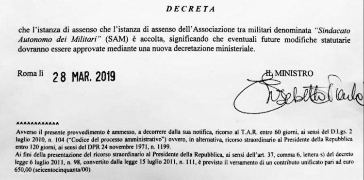 Decreto costituzione sindacato autonomo dei militari